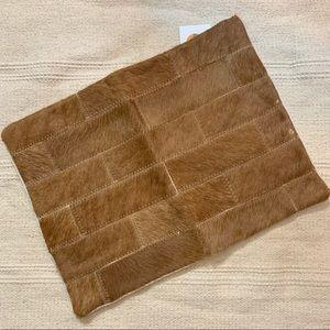 Vintage Re-Made Genuine Brown Calf Hair Zip Clutch